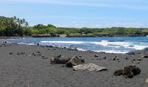 black sand beach and volcanoes park
