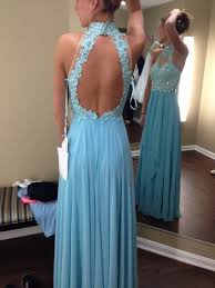 diyouth royal blue lace long formal prom dress open back