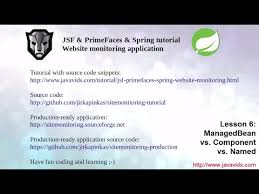 tutorial java primefaces jsf primefaces spring tutorial 6 managedbean vs component vs