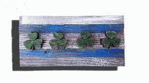 handmade reclaimed wooden chicago flag with irish clovers