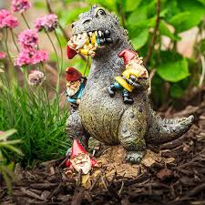 garden gnome godzilla will keep the pests away