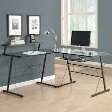 Modern Office Table With Glass Top Modern Glass Top Corner Computer Desk Which Adorned With Black