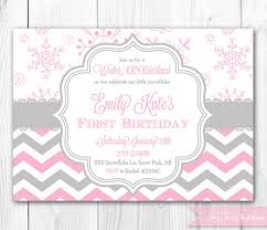 winter onederland birthday invitation in pink u0026 gray winter