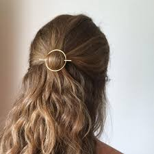 barrette hair minimalist gold hair accessories brass hair clip