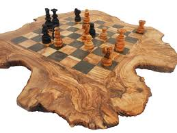 Wooden Chess Set by Unique Olive Wood Rustic Chess Board Custom Engraved