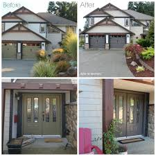 Vinyl Door Trim Exterior Exterior Before And After With Painted Garage Doors Front Door