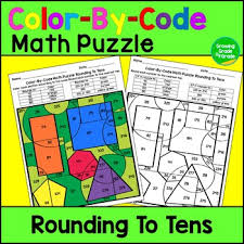 rounding to the nearest 10 color by code math puzzle by growing