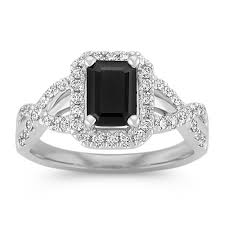 sapphire and engagement rings emerald cut black sapphire and ring shane co