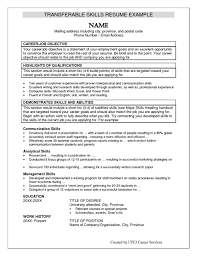 job resume skills list transferable skills list for resumes
