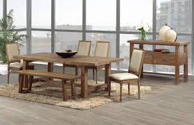 modern rustic oak kitchen table and leather chairs with single