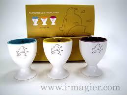 set of 3 tintin egg cups ecru interior color tintin tableware