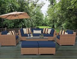 Patio Furniture Conversation Set Tk Classics Laguna 8 Piece Rattan Conversation Set With Cushion