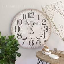 oversized vintage wall clock white wood oversized vintage wall
