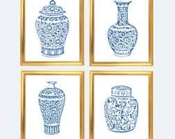 Blue And White Vase Chinoiserie Etsy