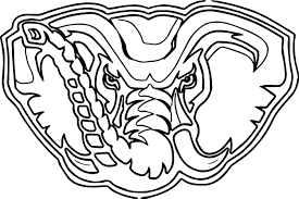 alabama elephant face outline coloring page wecoloringpage