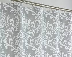 Black And White Damask Curtain 72 X 78 Long Grey Damask Shower Curtain Extra Long By Pondlilly