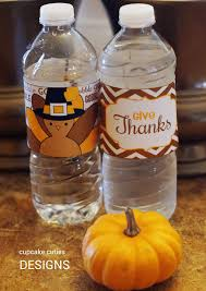 thanksgiving water bottle labels cupcake cutiees november 2014