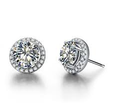 diamond earrings on sale aliexpress buy 0 5ct solid 750 white gold earrings