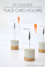 diy table number holders diy painted concrete place card holders