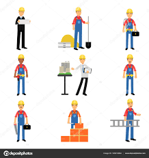 construction engineering industrial workers characters at work set