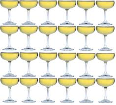 crystal champagne coupe saucers cocktail glasses party pack x24
