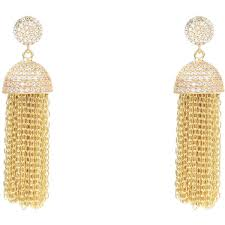 stud earrings with chain tassel chain earring gold 435 via polyvore featuring jewelry