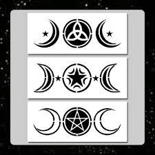set 3 triple moon stencils 3 x 7 each wiccan pentagram stars
