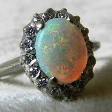 opal october opal ring diamond halo opal engagement ring 14k opal diamond ring