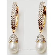 diamond earrings india pretty pearl designer diamond earrings buy indian design style