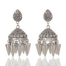 jhumka earrings online earrings online jewelum shop oxidised vintage jhumki earrings at