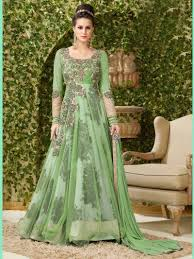 Light Green Color by Green Color Net Designer Latest Bollywood Anarkali Suit Floor Touch