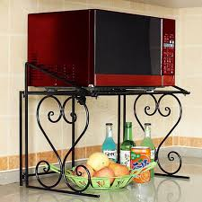 2 tier black metal multifunctional microwave oven rack household