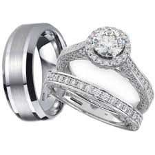 couple rings set images His and hers tungsten 925 sterling silver wedding engagement ring jpg