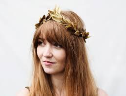 goddess headband gold leaf crown gold leaf headband hair garland
