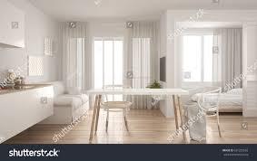 interior design kitchen living room modern minimal kitchen living room bedroom stock illustration