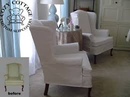 Slipcover For Wingback Chair Design Ideas 2 Wingback Chair Slipcovers Slipcover Chair And Ottoman