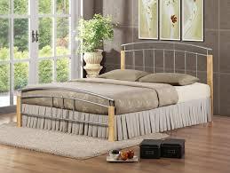 Beech Bed Frame Birlea Tetras Bed Metal Silver And Beech Co Uk