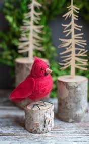 felted cardinal bird lia griffith