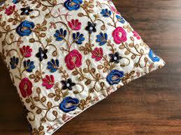 Upcycled Pillows - silk cushion and throw pillow bohemian decorative pillow crazy