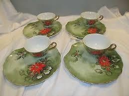 lefton china pattern 4 vintage lefton china painted snack set poinsetta christmas