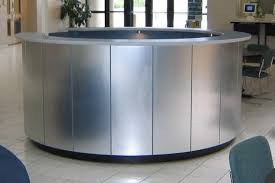 Custom Made Reception Desk Hand Made Brushed Aluminum Circular Reception Desk By Yb Normal