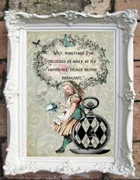 Shabby Chic Wall Art by Alice In Wonderland Quote Art Print Alice In Wonderland