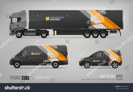 truck car black mockup set truck trailer cargo van stock vector 659993257
