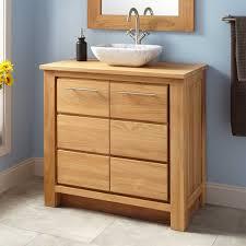 Narrow Depth Venica Teak Vessel Sink Vanity Bathroom - Bathroom vanity cabinet for vessel sink