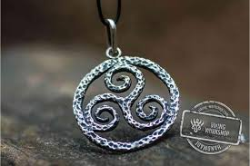 handmade silver charm necklace images Spiral triskele symbol pendant sterling silver viking jewelry jpg