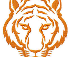tiger fill embroidery designs 6 sizes instant