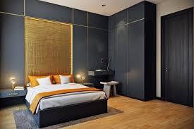 d orer chambre adulte decoration panneaux muraux bois gris foncé jaune doré panneaux