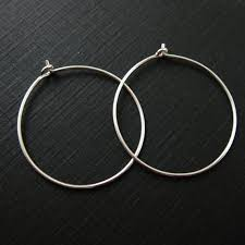 silver hoops 925 sterling silver findings simple earring hoops 30mm
