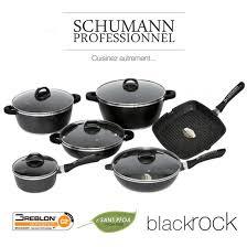 batterie de cuisine schumann cookware sets schumann professionnel black rock non stick coating