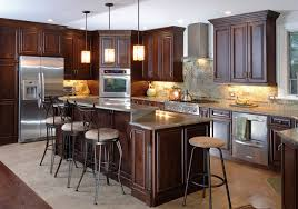 interesting dark cherry kitchen cabinets wall color excellent